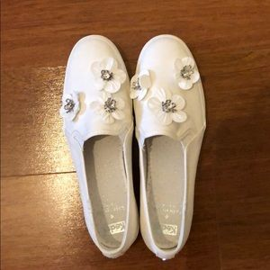 Keds X Kate Spade White Sequin Flower Sneakers
